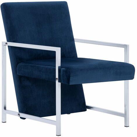 vidaXL Fauteuil avec Pieds en Chrome Velours Chaise de Salon Meuble Siège de Salon Bureau Maison Intérieur Salle de Séjour Chambre Multicolore