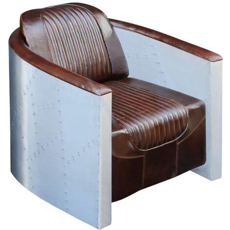 vidaXL Fauteuil Cuir Véritable Mobilier de Salon Moderne Meubles de Salon Fauteuil de Relaxation Intérieur Maison Marron Clair/Marron Foncé