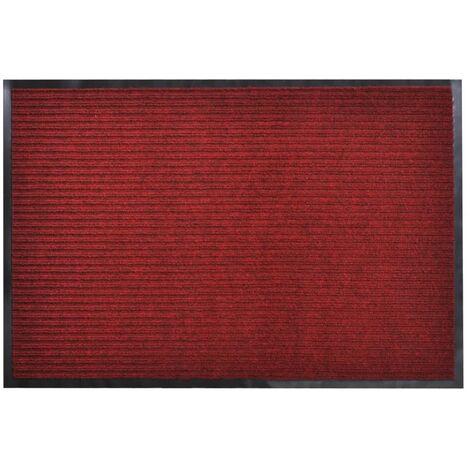 vidaXL Felpudo Alfombra de Entrada PVC Roja 90x150 cm - Rojo