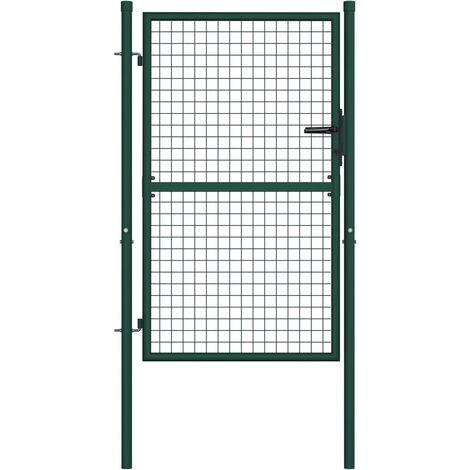 "main image of ""vidaXL Fence Gate Steel 100x125 cm Green - Green"""