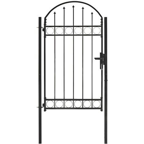 vidaXL Fence Gate with Arched Top Steel 100x175 cm Black - Black