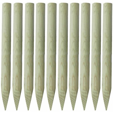vidaXL Fence Posts 10 pcs Wood 100 cm - Green