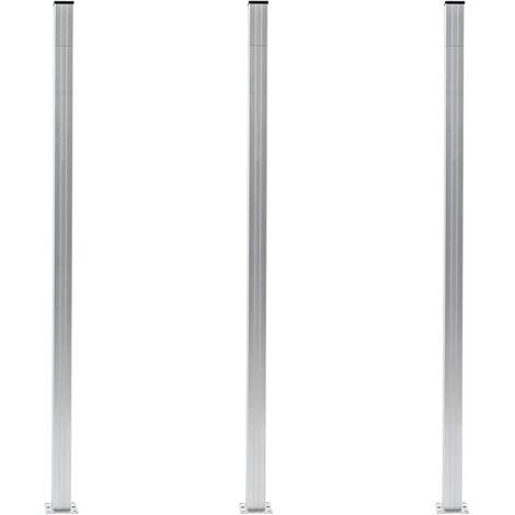 vidaXL Fence Posts 3 pcs Aluminium 185 cm - Silver