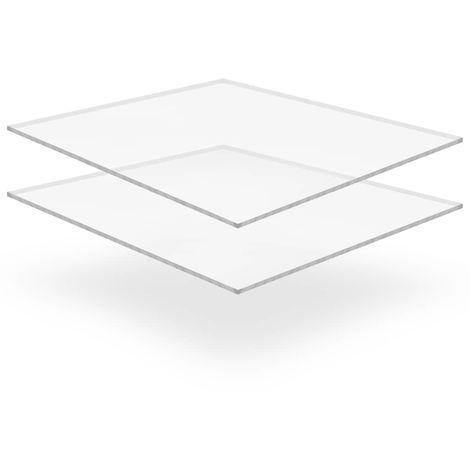 vidaXL Feuille de verre acrylique transparent 2 pcs 40 x 60 cm 10 mm