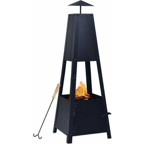 """main image of """"vidaXL Fire Pit Black 35x35x99 cm Steel - Black"""""""