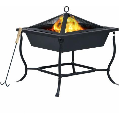 """main image of """"vidaXL Fire Pit Black 45x45x45 cm Steel - Black"""""""