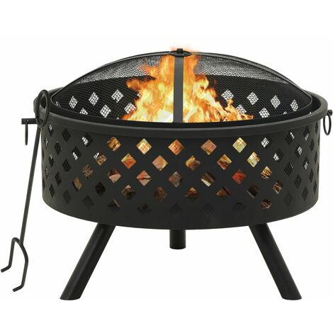 vidaXL Fire Pit with Poker 68 cm XXL Steel - Black