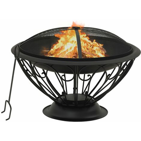 vidaXL Fire Pit with Poker 75 cm XXL Steel - Black