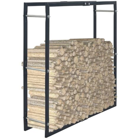 vidaXL Firewood Rack Black 100x25x100 cm Steel - Black
