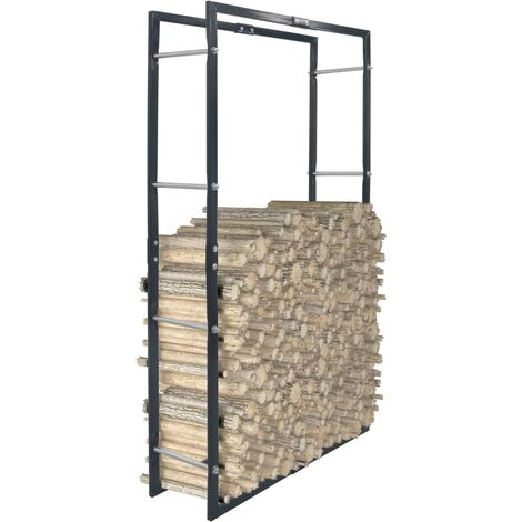 "main image of ""vidaXL Firewood Rack Black 80x25x150 cm Steel - Black"""