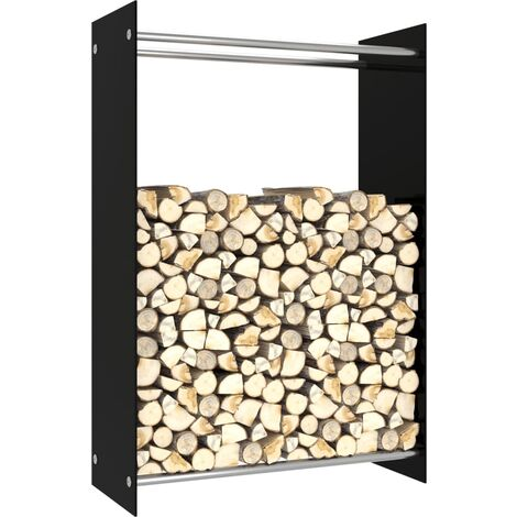 vidaXL Firewood Rack Black 80x35x120 cm Glass - Black
