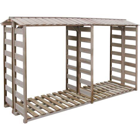 vidaXL Firewood Storage Shed 300x90x176 cm Impregnated Pinewood - Brown