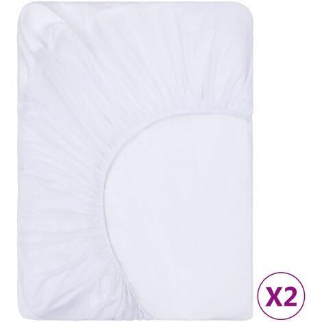vidaXL Fitted Sheets Waterproof 2 pcs Cotton 80x200 cm White - White