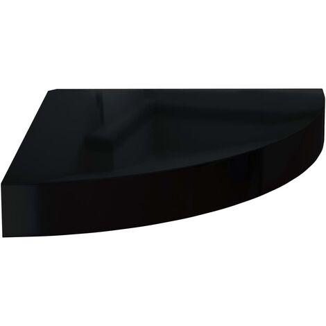 vidaXL Floating Corner Shelf MDF High Gloss Black 25x25x3.8 cm - Black