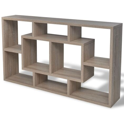 vidaXL Floating Wall Display Shelf 8 Compartments Hanging White/Oak Colour