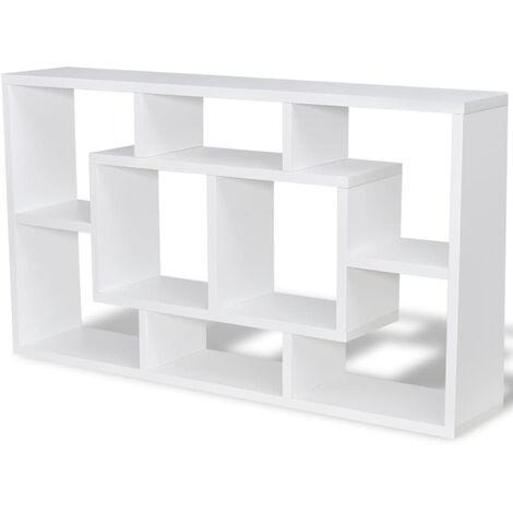 vidaXL Floating Wall Display Shelf Storage Cabinet Rack Stand Unit DVD Glass Hanging Shelf Furniture 8 Compartments Oak Colour/White
