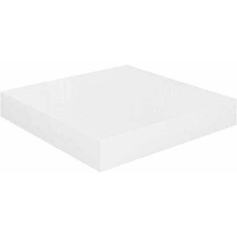 vidaXL Floating Wall Shelf High Gloss White 23x23.5x3.8 cm MDF - White