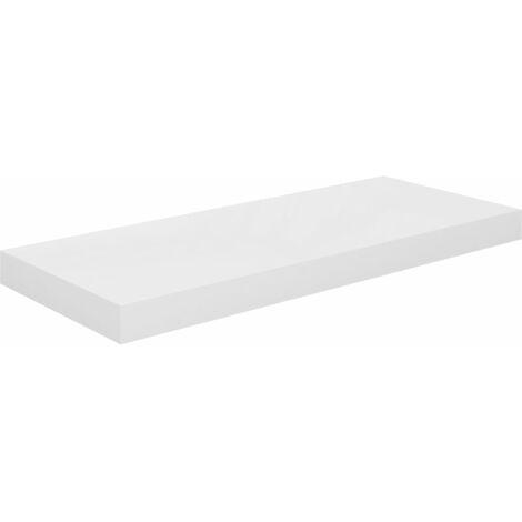 vidaXL Floating Wall Shelf MDF High Gloss White 60x23.5x3.8 cm - White