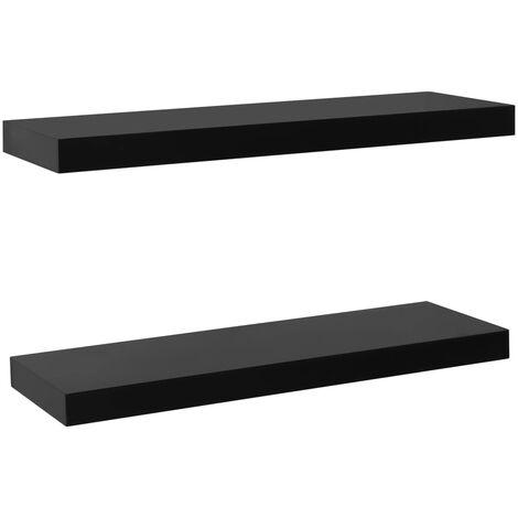 "main image of ""vidaXL 2x Floating Wall Shelves Black Living Room Bedroom Furniture Hanging Wall Mounted Shelves Display Storage Unit Rack Holder Multi Sizes"""