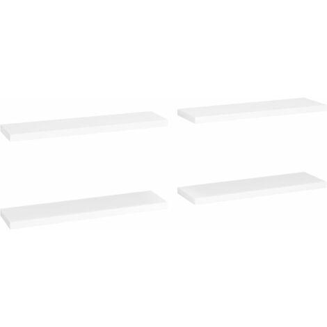 vidaXL Floating Wall Shelves MDF 4 pcs White 90x23.5x3.8 cm - White