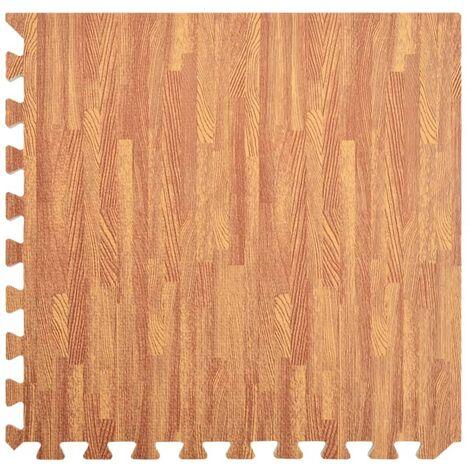 vidaXL Floor Mats 12 pcs Wood Grain 4.32 ㎡ EVA Foam - Brown
