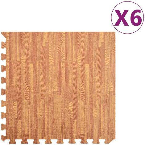 vidaXL Floor Mats 6 pcs Wood Grain 2.16 ㎡ EVA Foam - Brown