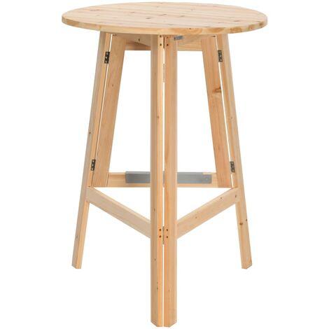 vidaXL Foldable Bar Table 78 cm Fir Wood - Brown