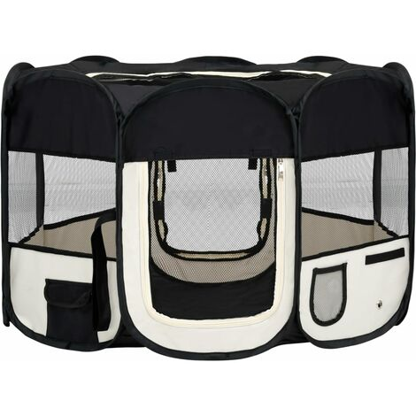 vidaXL Foldable Dog Playpen with Carrying Bag Black 110x110x58 cm - Black