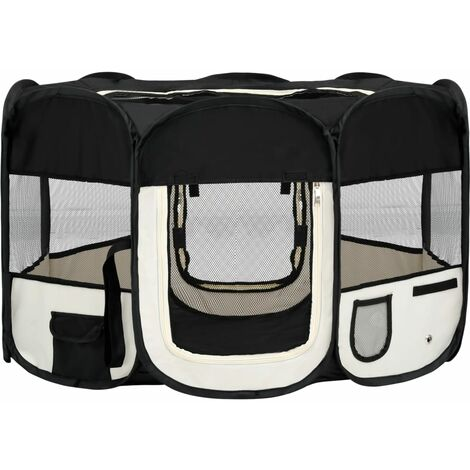 vidaXL Foldable Dog Playpen with Carrying Bag Black 125x125x61 cm - Black