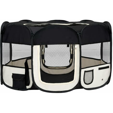 vidaXL Foldable Dog Playpen with Carrying Bag Black 145x145x61 cm - Black