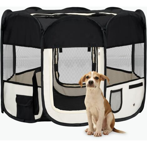 vidaXL Foldable Dog Playpen with Carrying Bag Black 90x90x58 cm - Black