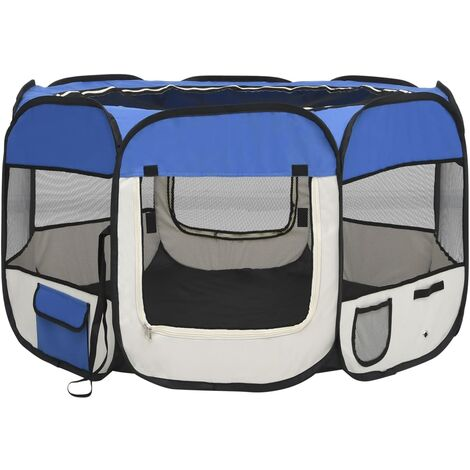 vidaXL Foldable Dog Playpen with Carrying Bag Blue 110x110x58 cm - Blue