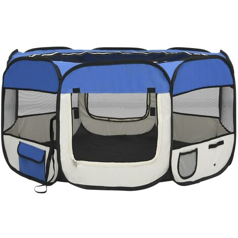 vidaXL Foldable Dog Playpen with Carrying Bag Blue 125x125x61 cm - Blue