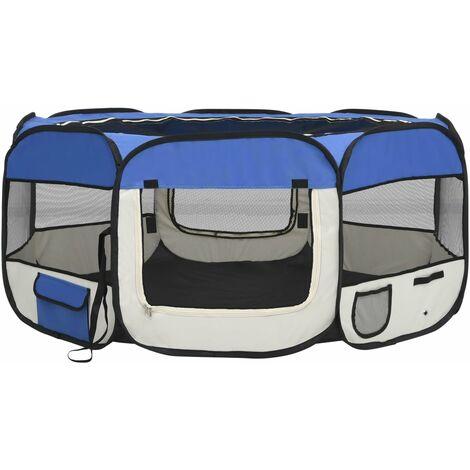 vidaXL Foldable Dog Playpen with Carrying Bag Blue 145x145x61 cm - Blue