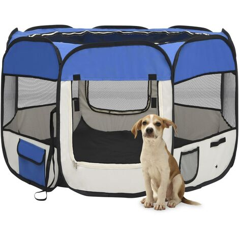 vidaXL Foldable Dog Playpen with Carrying Bag Blue 90x90x58 cm - Blue