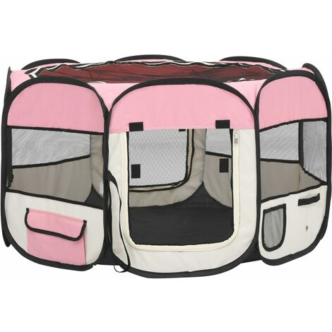 vidaXL Foldable Dog Playpen with Carrying Bag Pink 110x110x58 cm - Pink