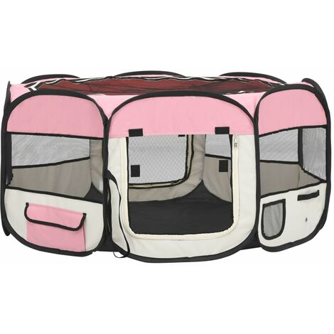 vidaXL Foldable Dog Playpen with Carrying Bag Pink 145x145x61 cm - Pink