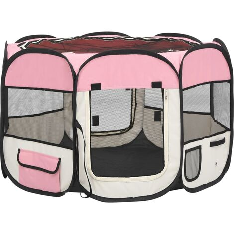 vidaXL Foldable Dog Playpen with Carrying Bag Pink 90x90x58 cm - Pink