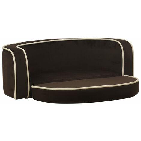 "main image of ""vidaXL Foldable Dog Sofa Brown 73x67x26 cm Plush Washable Cushion - Brown"""