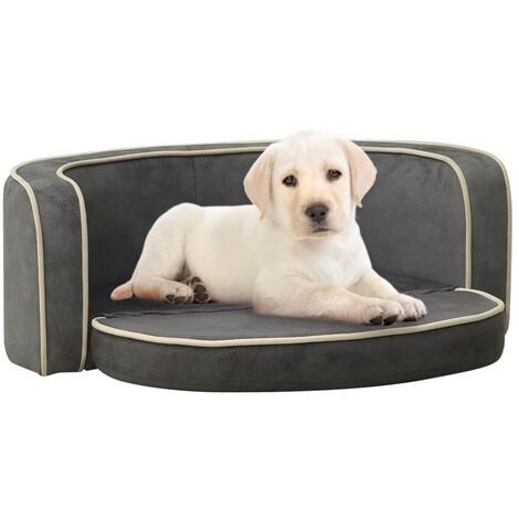 "main image of ""vidaXL Foldable Dog Sofa Grey 73x67x26 cm Plush Washable Cushion - Grey"""