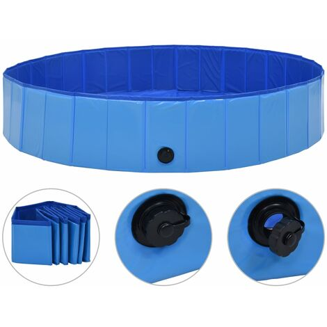 vidaXL Foldable Dog Swimming Pool Blue 160x30 cm PVC