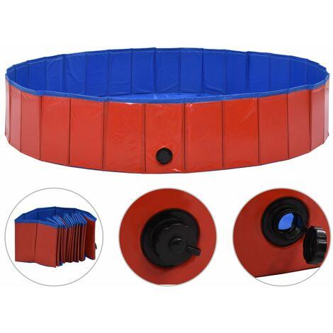 vidaXL Foldable Dog Swimming Pool Red 160x30 cm PVC