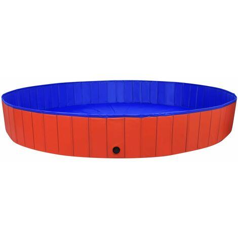 vidaXL Foldable Dog Swimming Pool Red 300x40 cm PVC