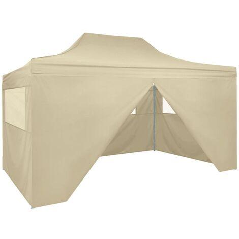 vidaXL Foldable Tent Pop-Up with 4 Side Walls 3x4.5 m Cream White - Cream