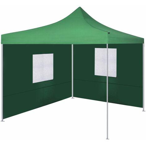 vidaXL Foldable Tent with 2 Walls 3x3 m Green - Green