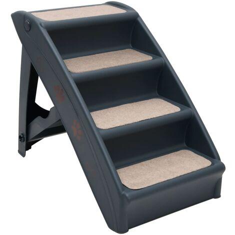 "main image of ""vidaXL Folding 4-Step Dog Stairs Dark Grey - Grey"""