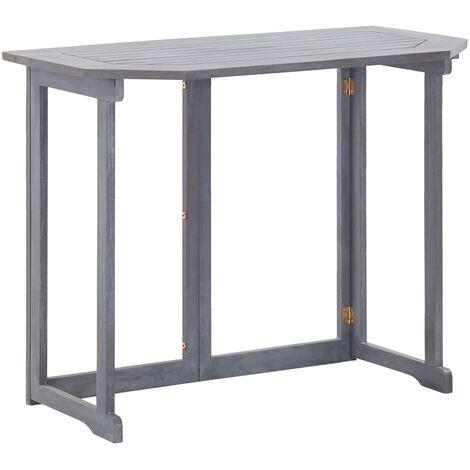 vidaXL Folding Balcony Table 90x50x74 cm Solid Acacia Wood - Grey