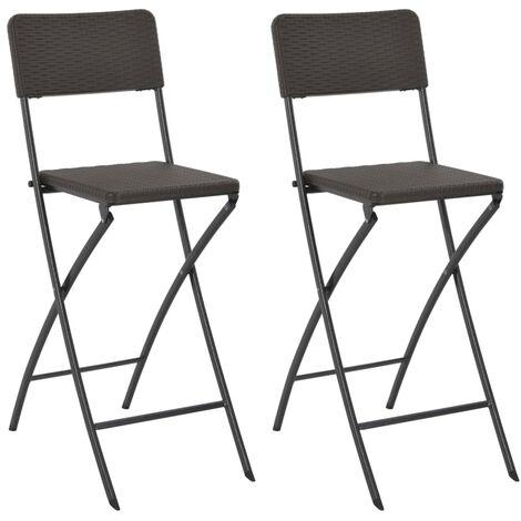vidaXL Folding Bar Chairs 2 pcs HDPE and Steel Brown Rattan Look - Brown