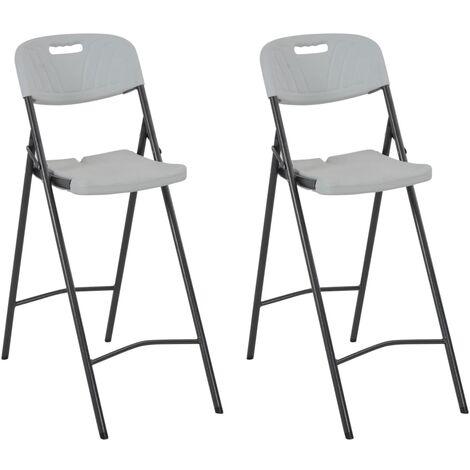 "main image of ""vidaXL Folding Bar Chairs 2 pcs HDPE and Steel White - White"""
