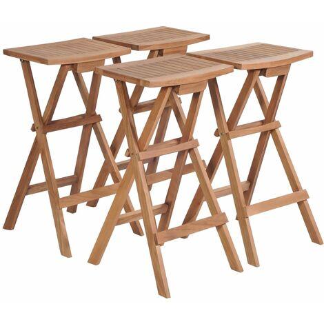 vidaXL Folding Bar Stools 4 pcs Solid Teak Wood - Brown